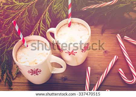 Hot chocolate garnished with home made marshmallows. - stock photo