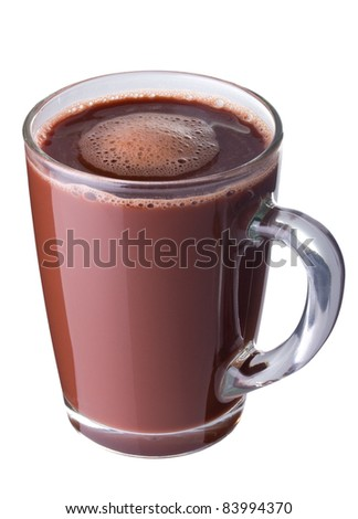Hot chocolate in a glass cup isolated on white - stock photo
