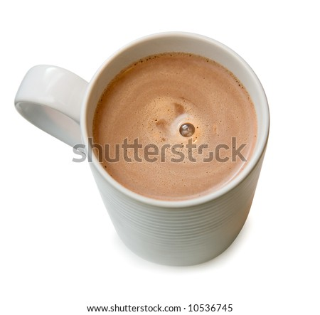 Hot chocolate in a white cup - stock photo