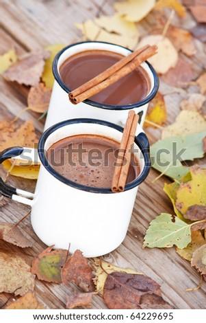 hot chocolate in the white mugs - stock photo
