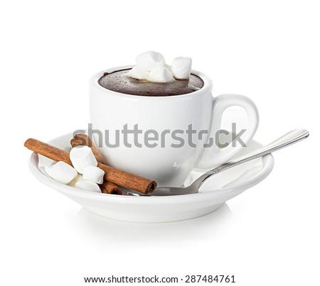 Hot chocolate isolated - stock photo