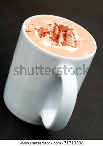 Hot chocolate latte with creamy whipped cream - stock photo