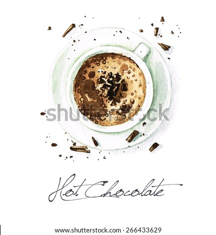 Hot Chocolate - Watercolor Food Collection - stock photo