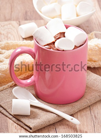 Hot chocolate with a marshmallows - stock photo