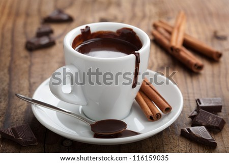 hot chocolate with cinnamon - stock photo