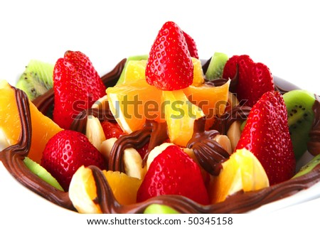 hot chocolate with fresh raw tropical fruits