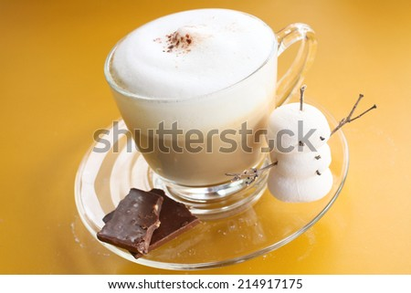 Hot chocolate with marshmallow for christmas - stock photo