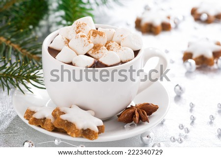 hot chocolate with marshmallows and gingerbread cookie, close-up - stock photo