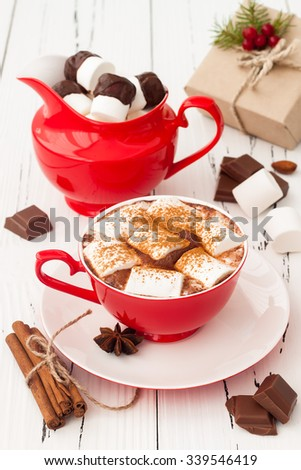 Hot chocolate with marshmallows. Christmas holiday drink.