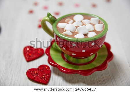 Hot chocolate with marshmallows for Valentine's day - stock photo