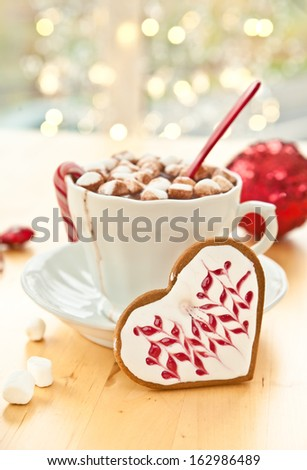 Hot chocolate with marshmallows in a vintage cup - stock photo