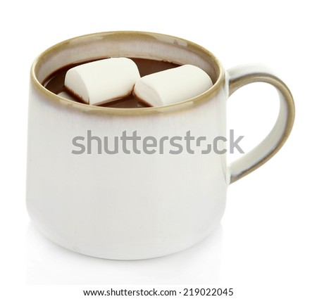 Hot chocolate with marshmallows in mug, isolated on white - stock photo
