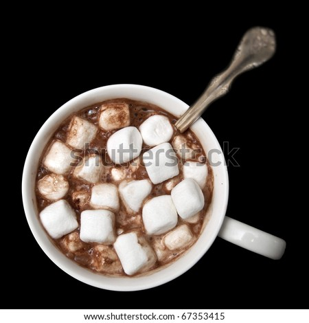 Hot chocolate with marshmallows isolated on black background, photographed from directly above. - stock photo