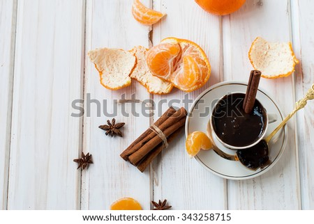 Hot chocolate with orange and cinnamon Still life with autumn leaves - stock photo