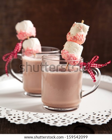 Hot chocolate with peppermint candies coated marshmallows - stock photo