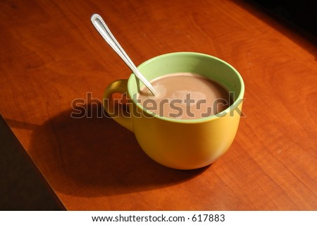 Hot Chocolate (with spoon) - stock photo