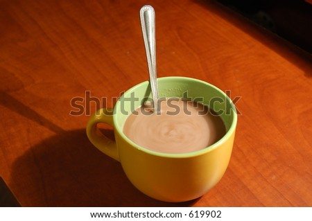 Hot Chocolate with spoon - stock photo