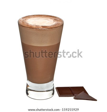Hot chocolate with tablets on white background - stock photo