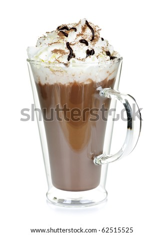 Hot chocolate with whipped cream in mug isolated on white - stock photo