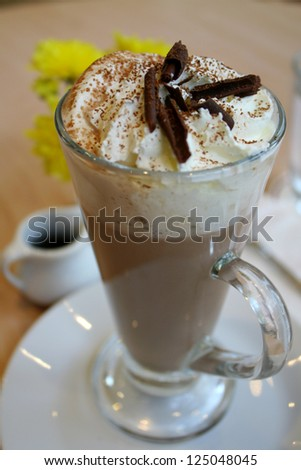 hot chocolate with whipped cream topping beverage