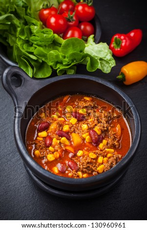 Hot cilli con carne cooked in the pan - stock photo