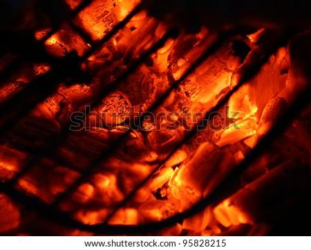 hot coal at barbecue - stock photo
