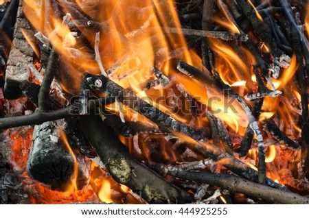 hot coals from the burnt wood
