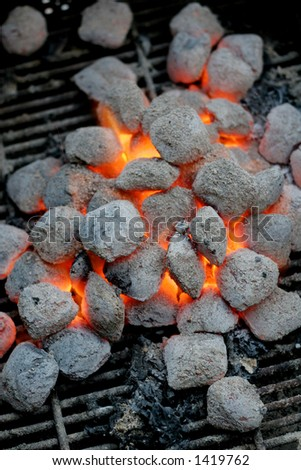 hot coals on the barbecue - stock photo