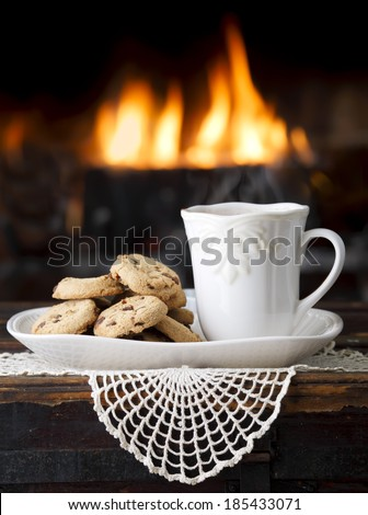 Hot Cocoa by the Fireplace - stock photo