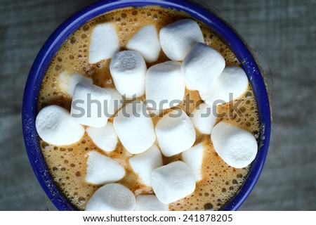 hot cocoa with marshmallows - stock photo