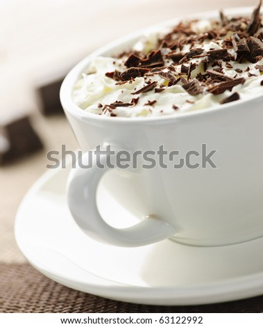 Hot cocoa with shaved chocolate and whipped cream - stock photo