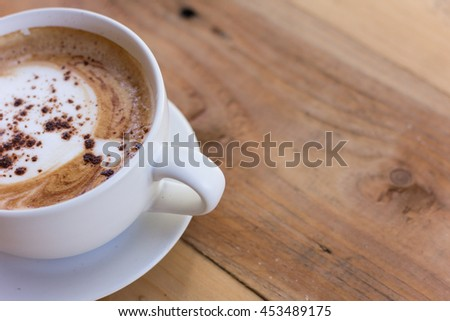 hot coffe , soft focus , selective of focus - stock photo