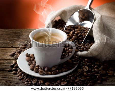 hot  coffee - stock photo