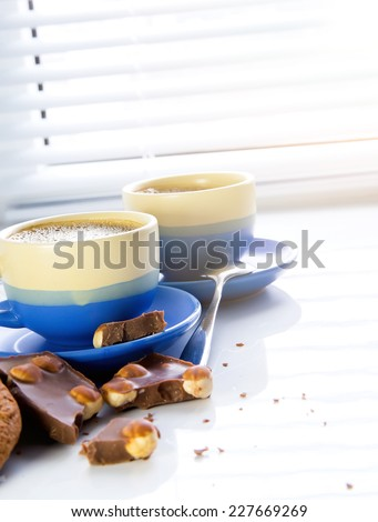 Hot coffee and chocolate in morning. Soft vintage colors