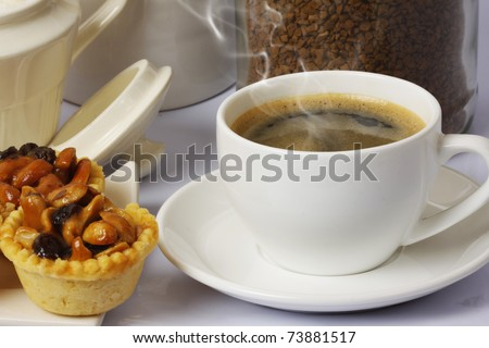 hot coffee and snacks