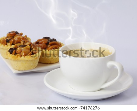 hot coffee and snacks - stock photo