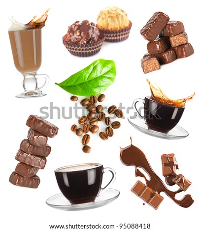 Hot coffee, beans and chocolate candy set on white background - stock photo