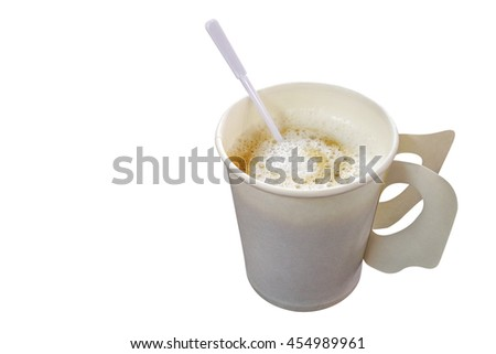 Hot coffee cappuccino in disposable paper coffee cup with plastic stirrer isolated on white background, clipping path included - stock photo