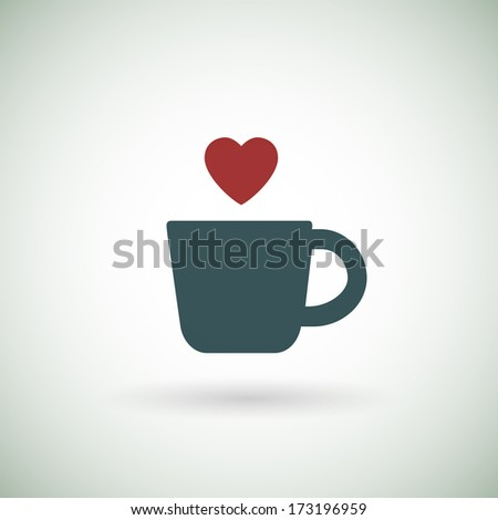 Hot coffee cup icon with heart. Raster version. - stock photo