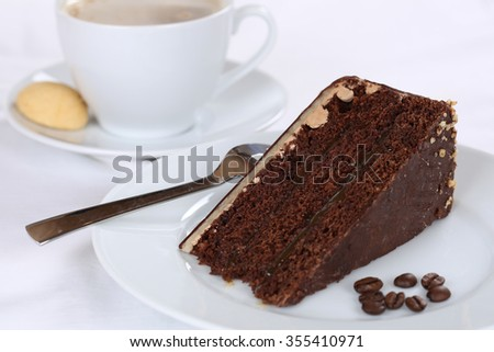 Hot coffee drink and sweet cake chocolate tart dessert pastry