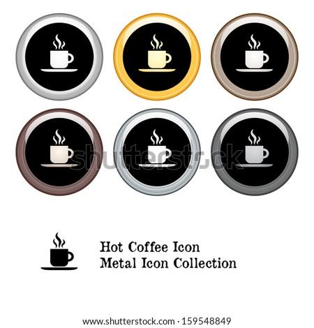Hot Coffee Icon Metal Icon Set.  Raster version. - stock photo