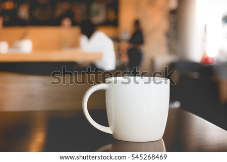 Hot coffee in cafe
