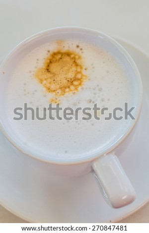 Hot Coffee in white cup and drink it in the morning with breakfast.