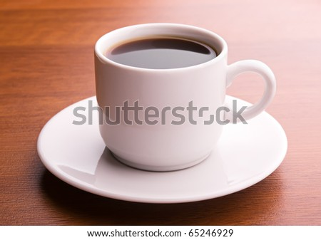 Hot coffee on a table - stock photo