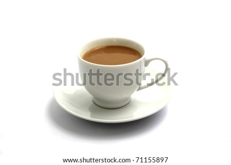 Hot coffee on cup isolated in white background. - stock photo
