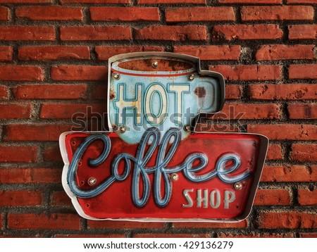 Hot coffee shop vintage  - stock photo