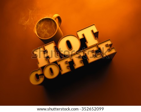 Hot Coffee with Cup 3d