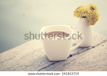 Hot coffee with flower