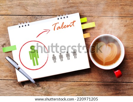 Hot coffee with talented person for hiring on wood background - stock photo
