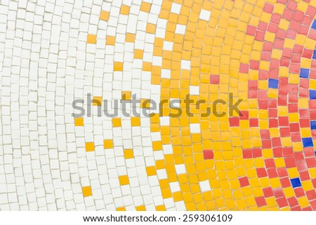 Hot color tone ceramic tiles texture with white filling - stock photo
